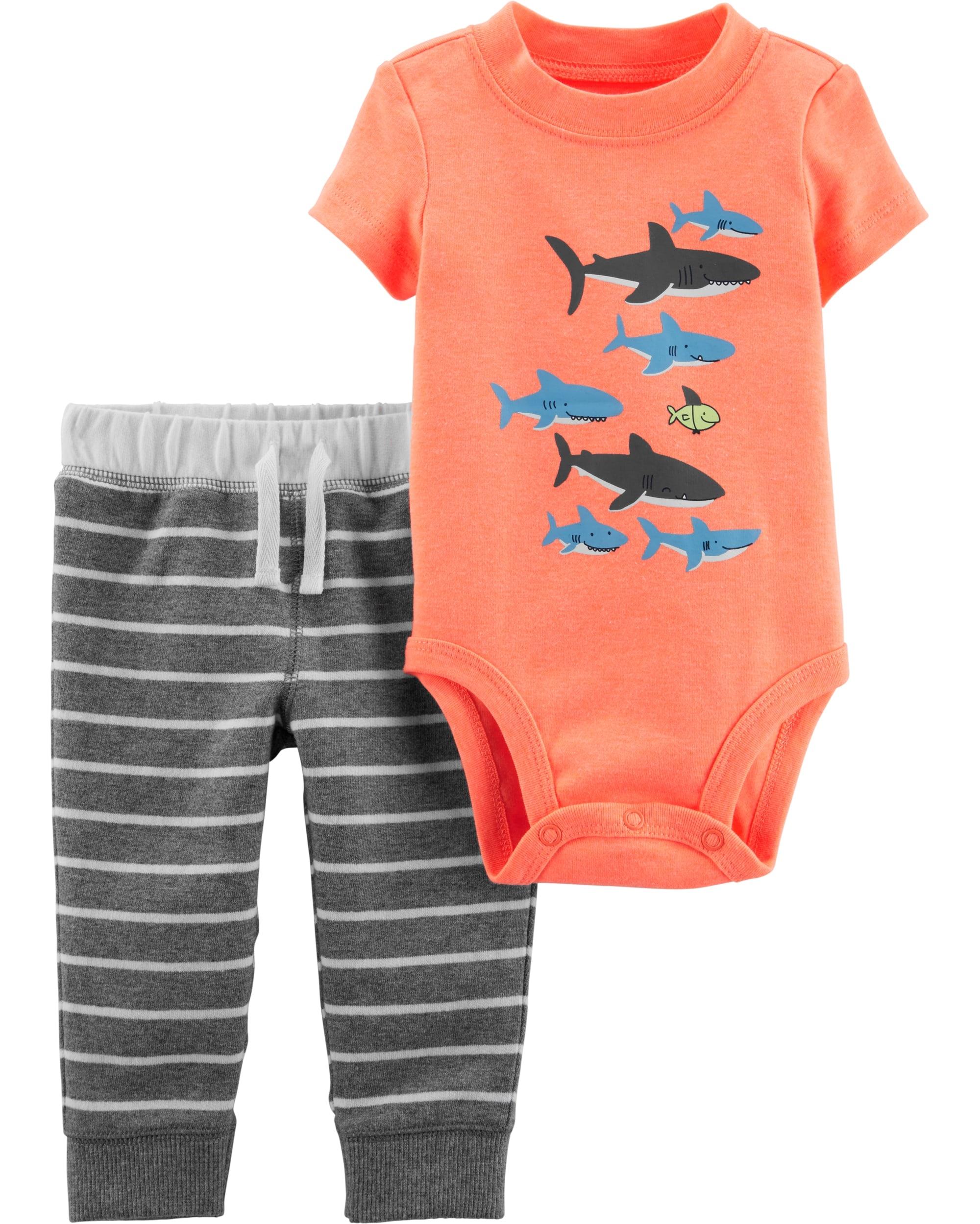 Carter's Set 2 Piese Rechin body & pantaloni imagine