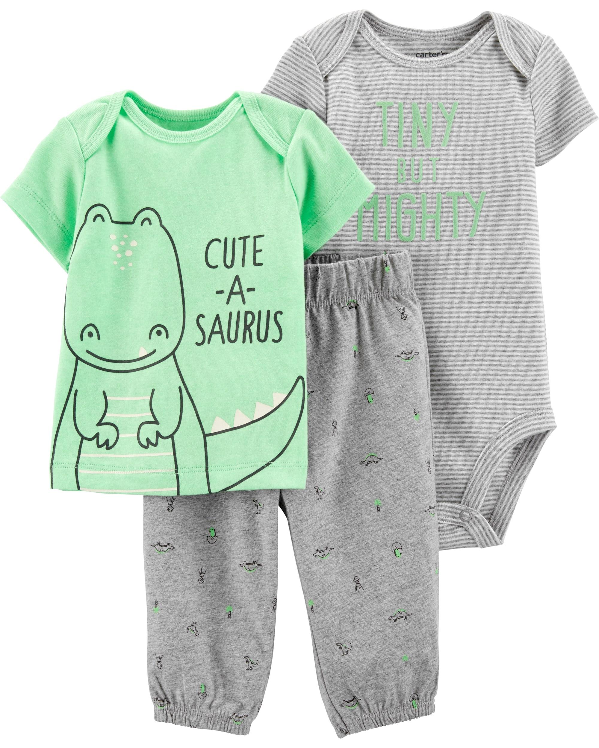 Carter's Set 3 Piese Dinozaur body, tricou & pantaloni lungi imagine