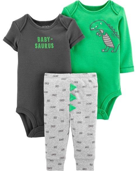 Carter's Set 3 piese Dinozaur pantaloni si doua body-uri imagine