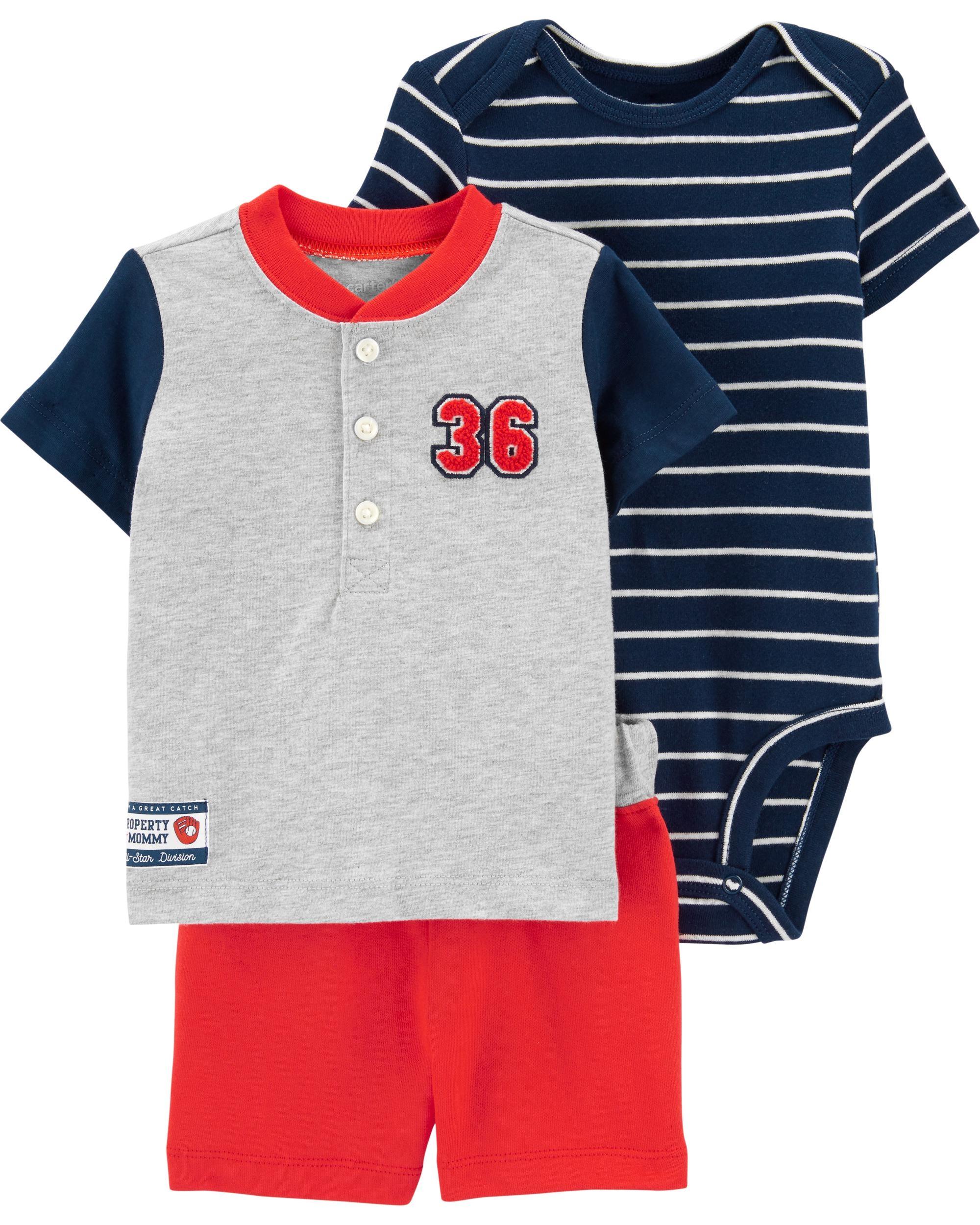 Carter's Set 3 Piese bebe tricou, body si pantaloni scurti Baseball imagine