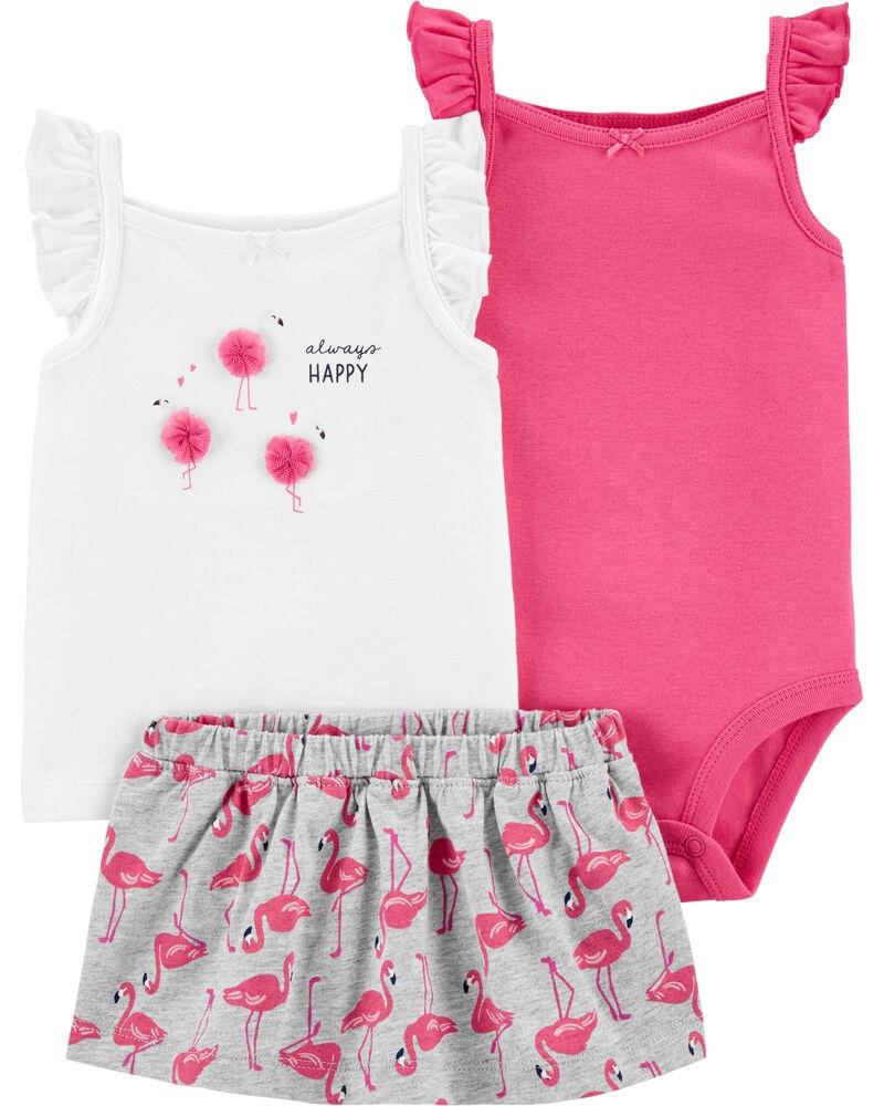 Carter's Set 3 Piese top, body & Fustita Flamingo imagine