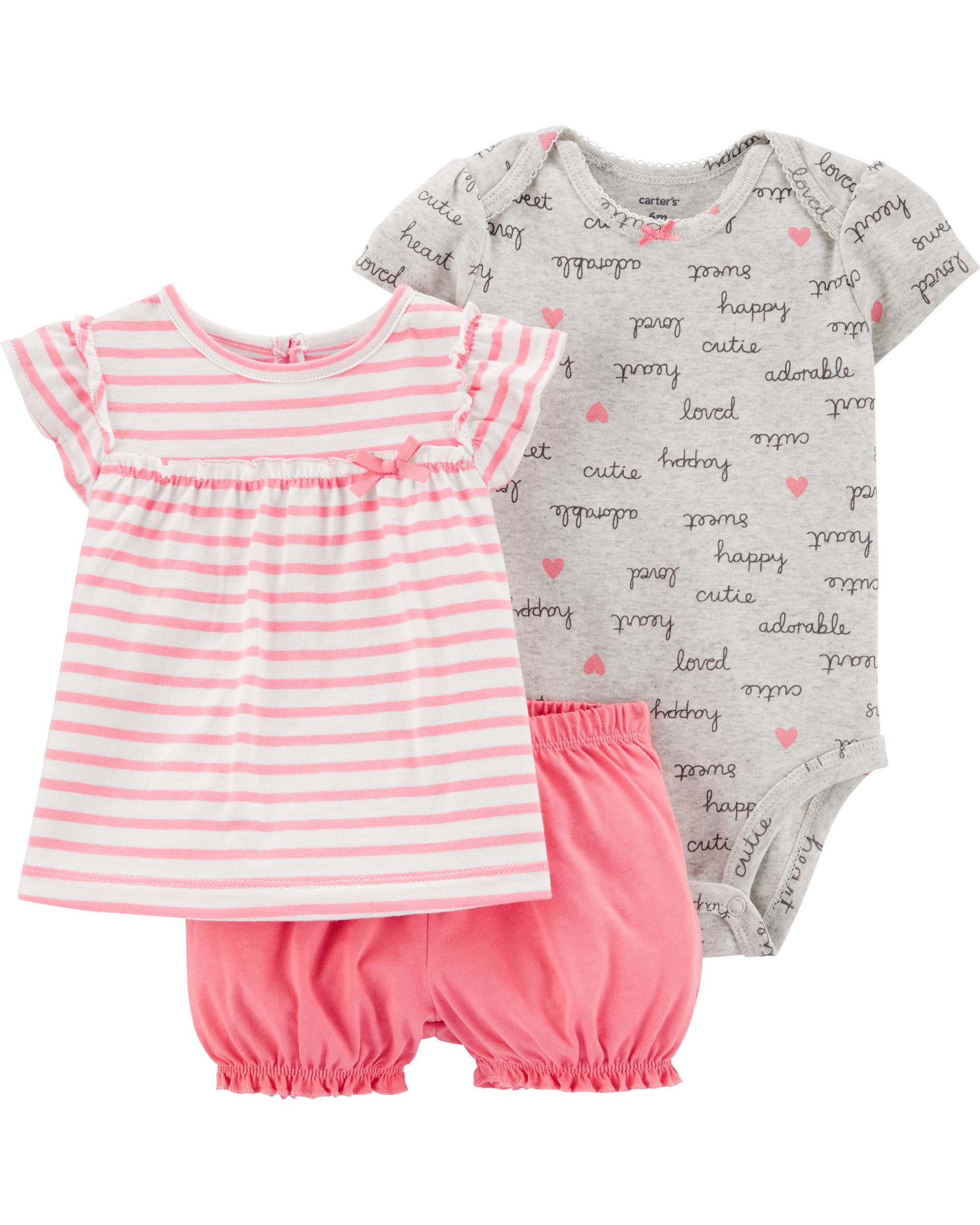 Carter's Set 3 Piese bebe tricou, body si pantaloni scurti dungi imagine