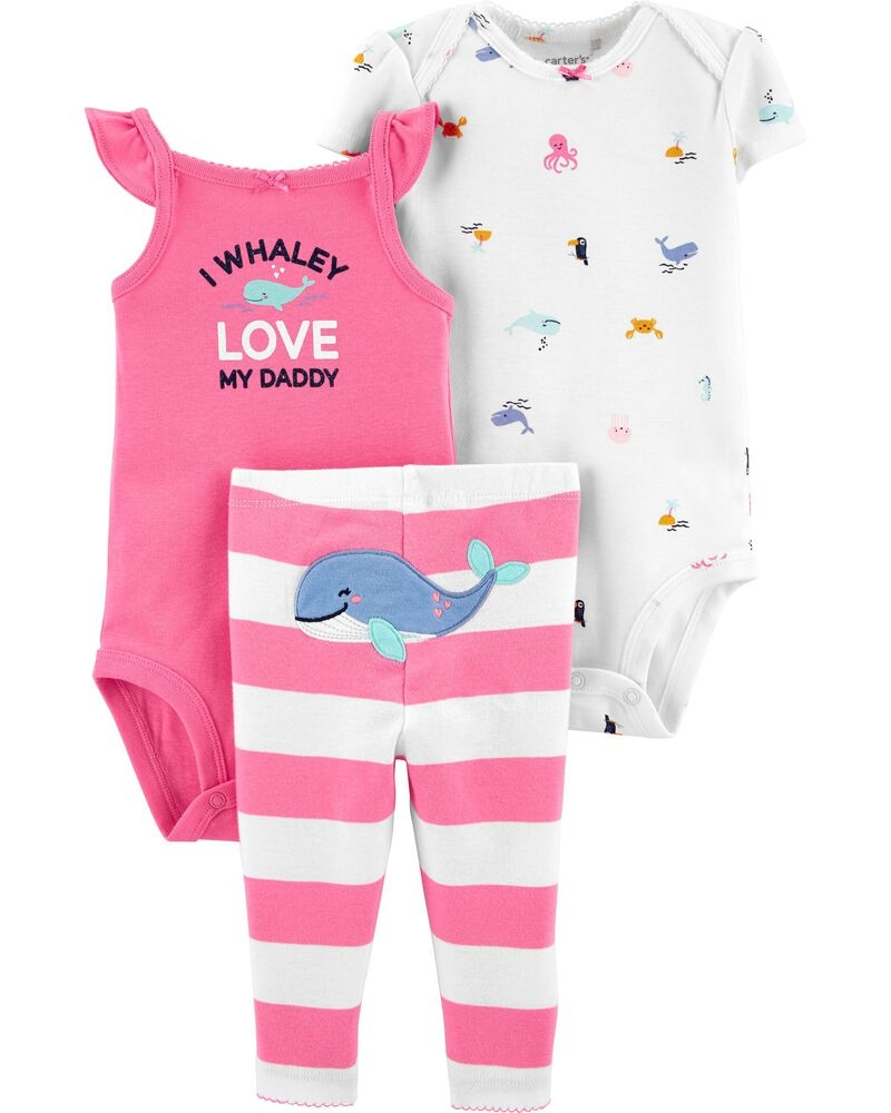 Carter's Set 3 Piese 2 body-uri & pantaloni Balena roz imagine