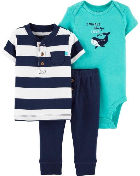 Carter's Set 3 piese pantaloni, tricou si body Balena imagine