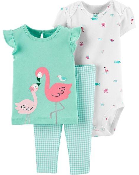 Carter's Set 3 piese pantaloni, tricou si body Flamingo imagine