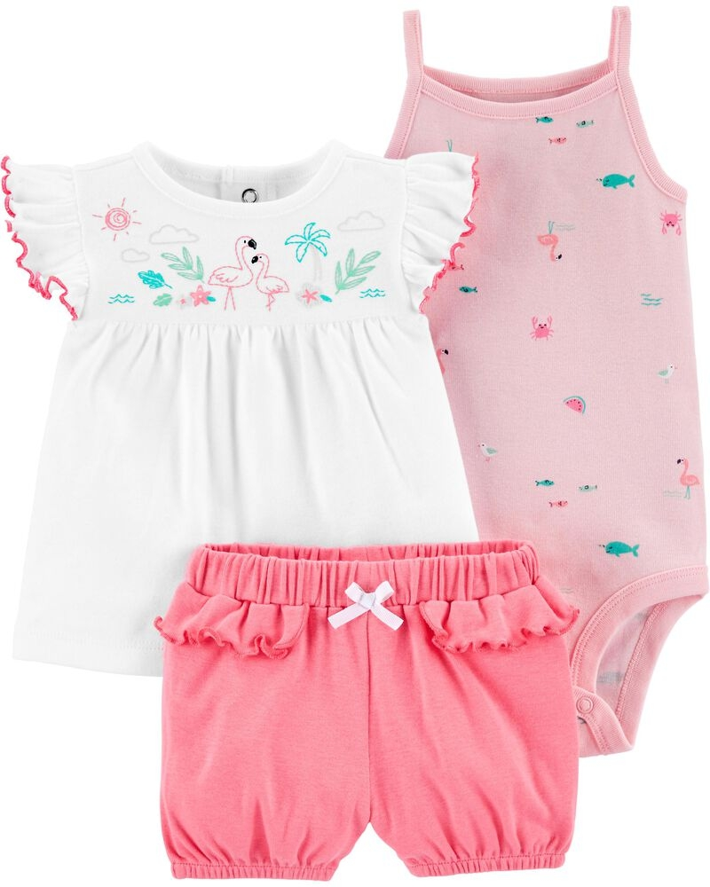 Carter's Set 3 Piese top, body & pantaloni scurti Flamingo imagine