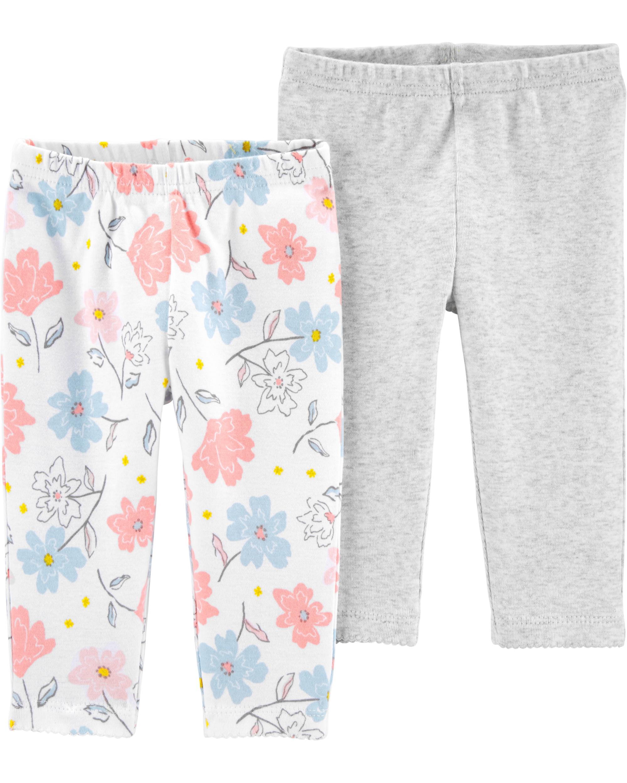 Carter's Set 2 piese pantaloni flori/gri 100% Bumbac Organic imagine