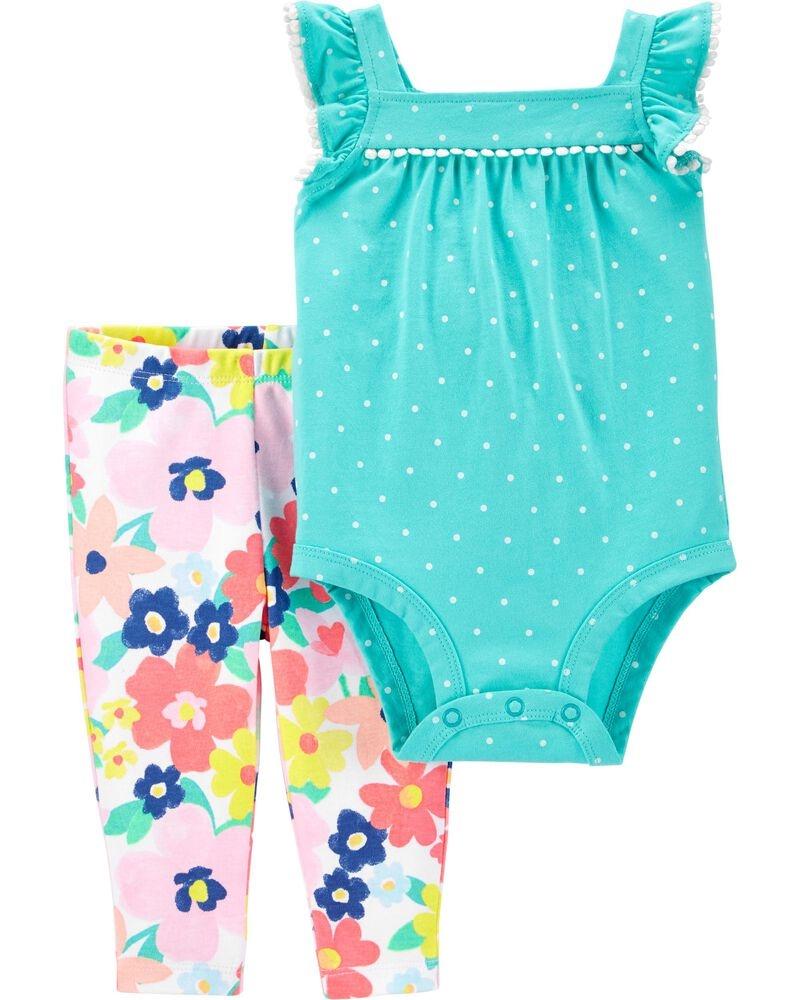 Carter's Set 2 piese pantaloni si body Floricele imagine