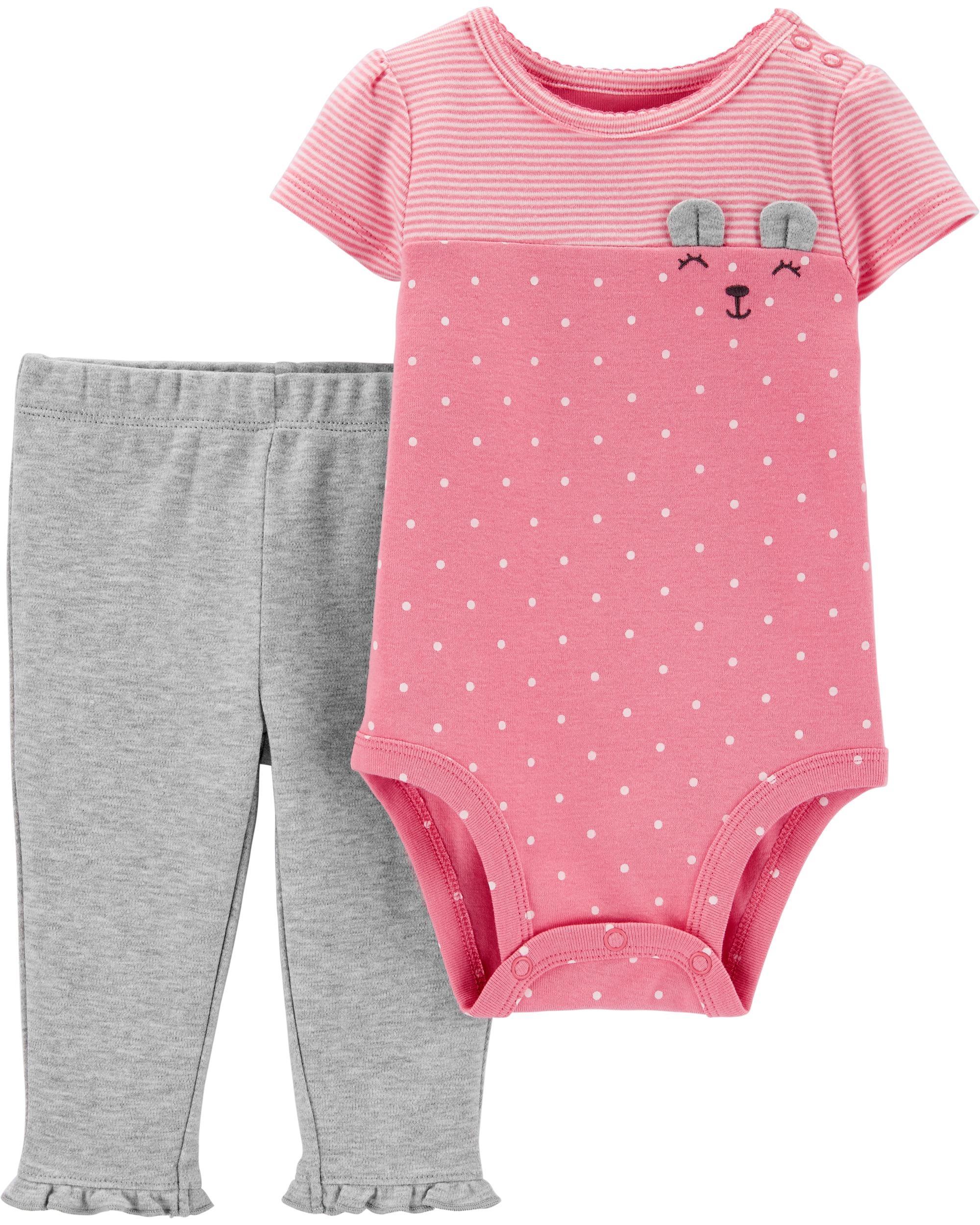 Carter's Set 2 piese bebelus pantaloni si body Ursulet imagine