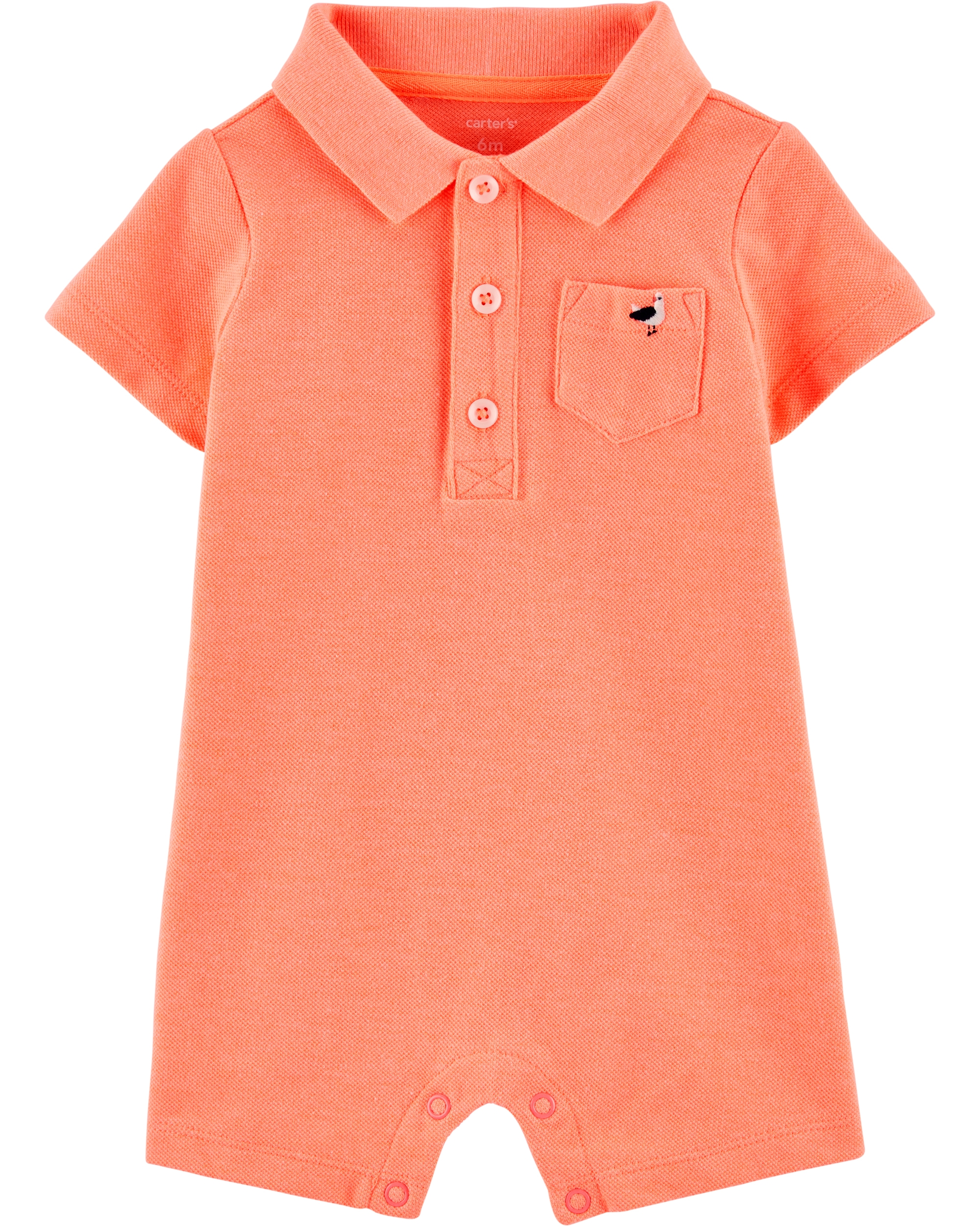 Carter's Salopetă bebelus tip cămașă portocaliu neon imagine