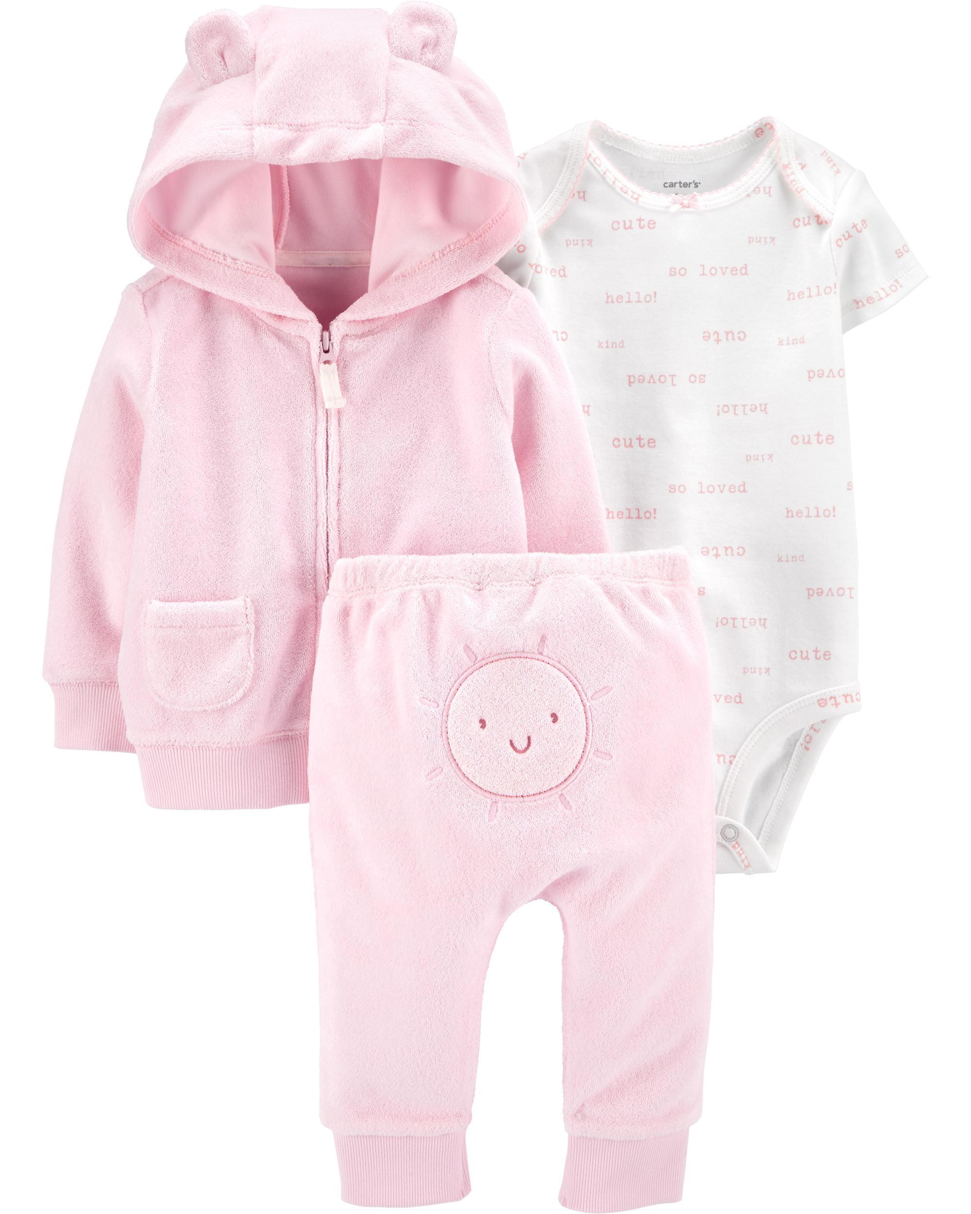 Carter's Set 3 piese bebelus hanorac pantaloni si body Soare imagine