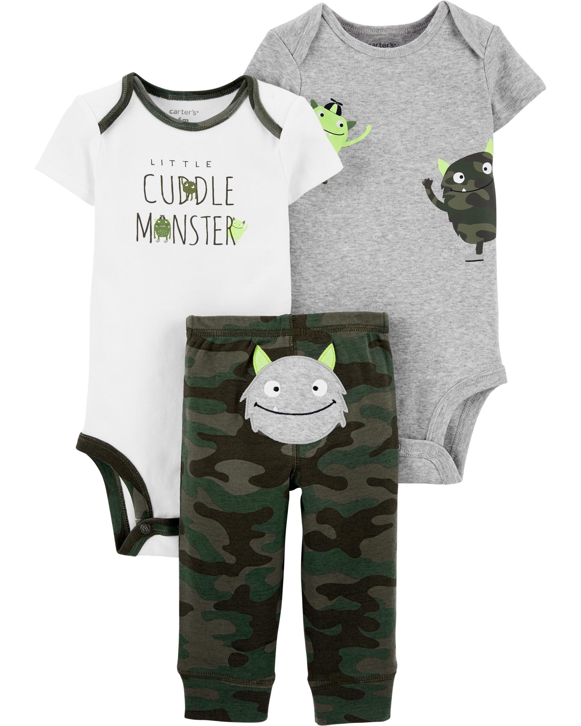 Carter's Set 3 Piese bebelus 2 body si pantaloni Monstrulet imagine