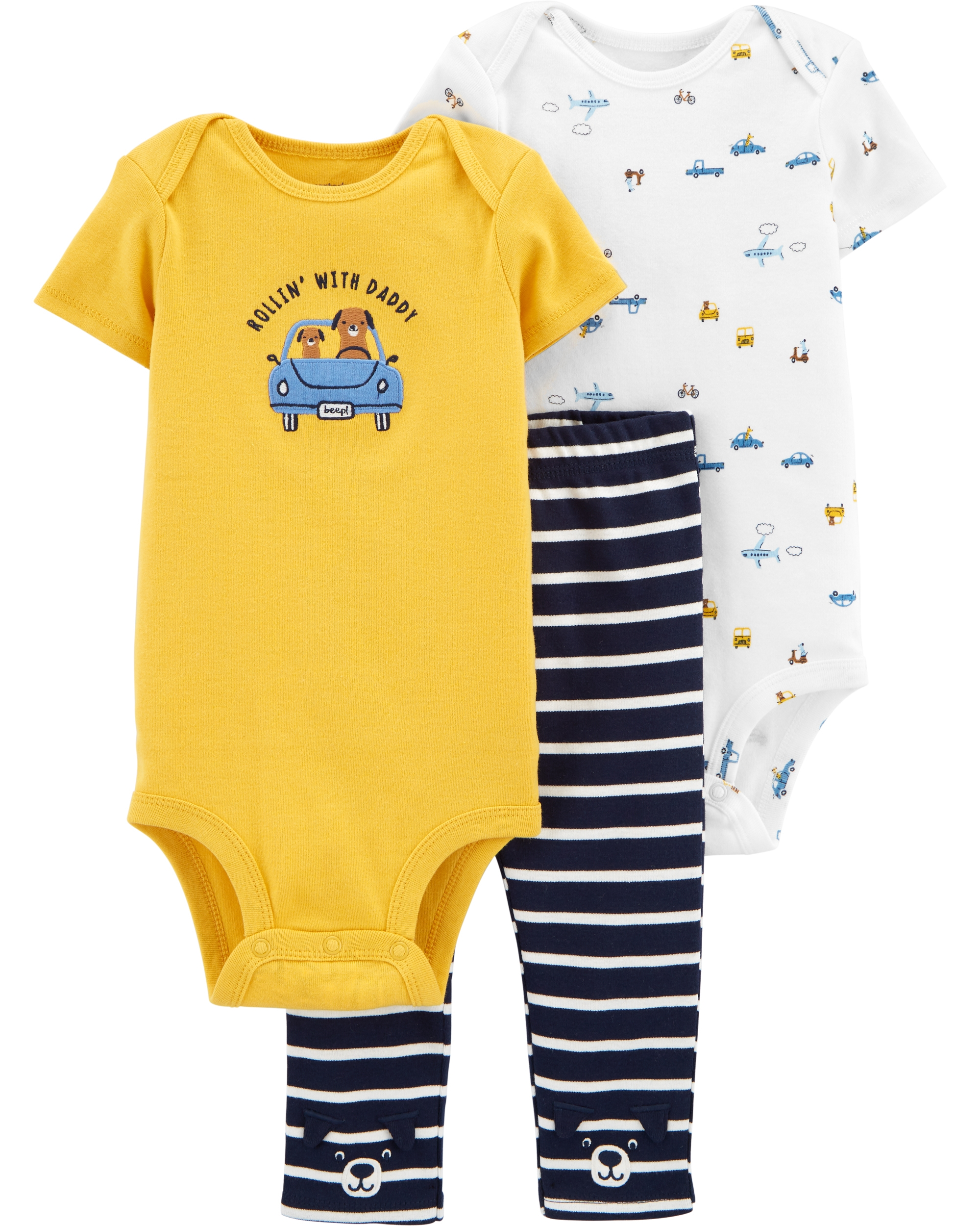Carter's Set 3 Piese bebe 2 body si pantaloni Masini imagine