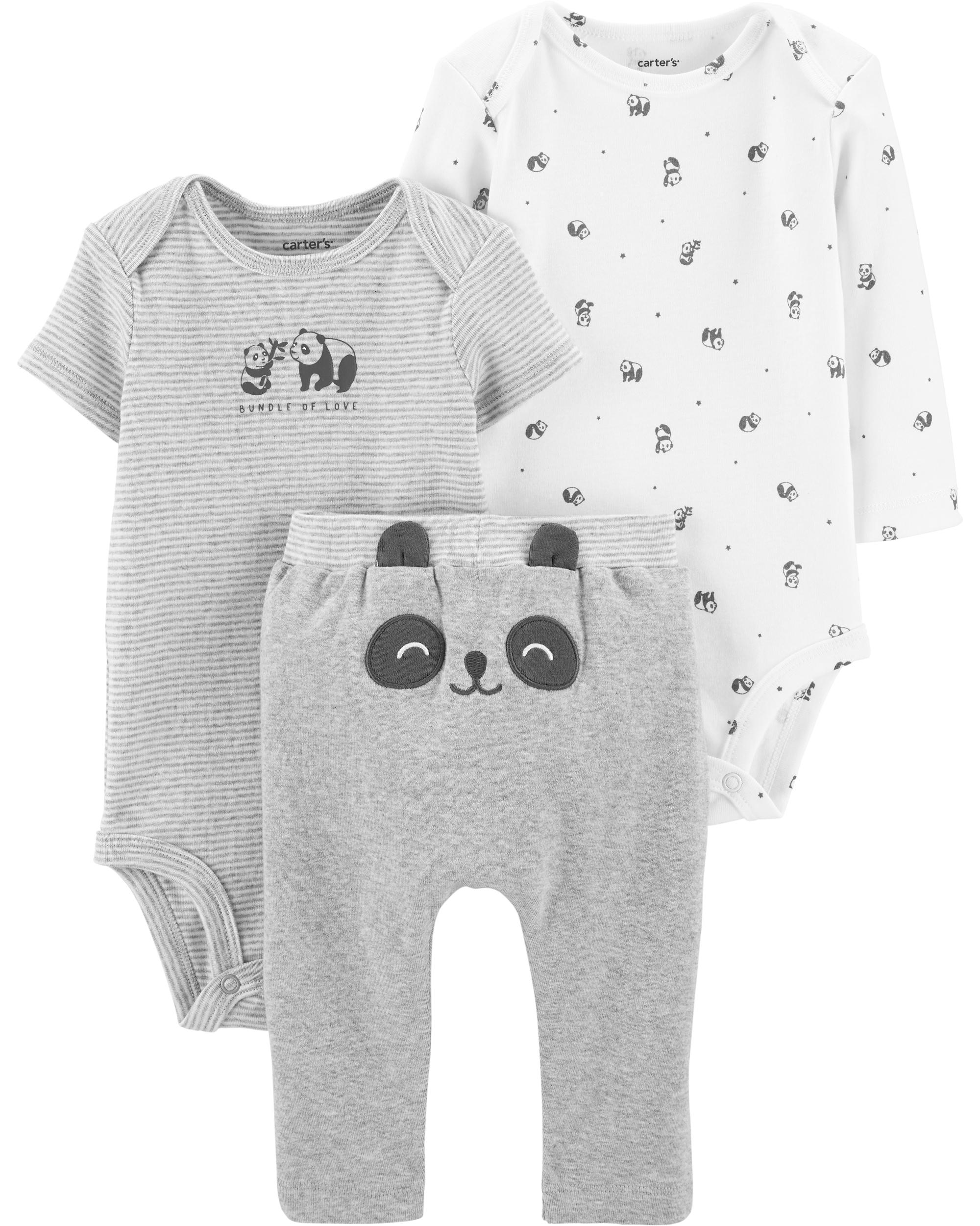 Carter's Set 3 Piese bebe 2 body si pantaloni Panda imagine