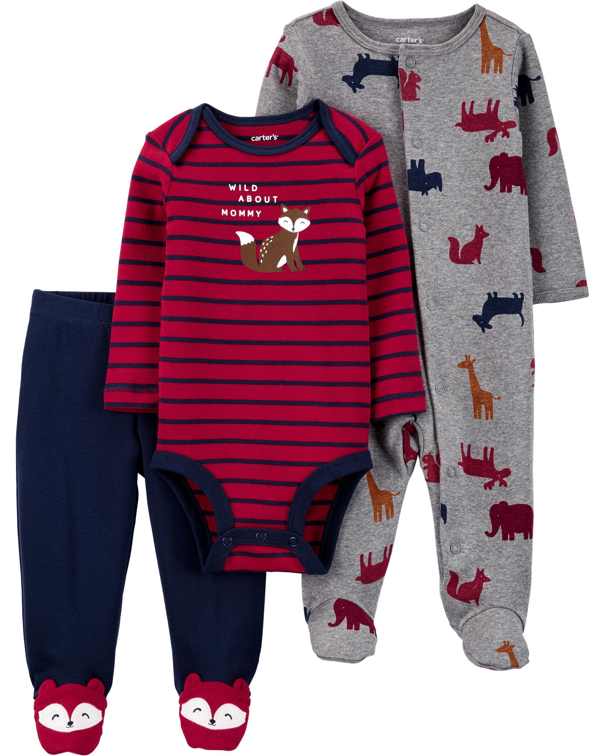 Carter's Set 3 Piese bebelus pijama body si pantaloni Veverite imagine