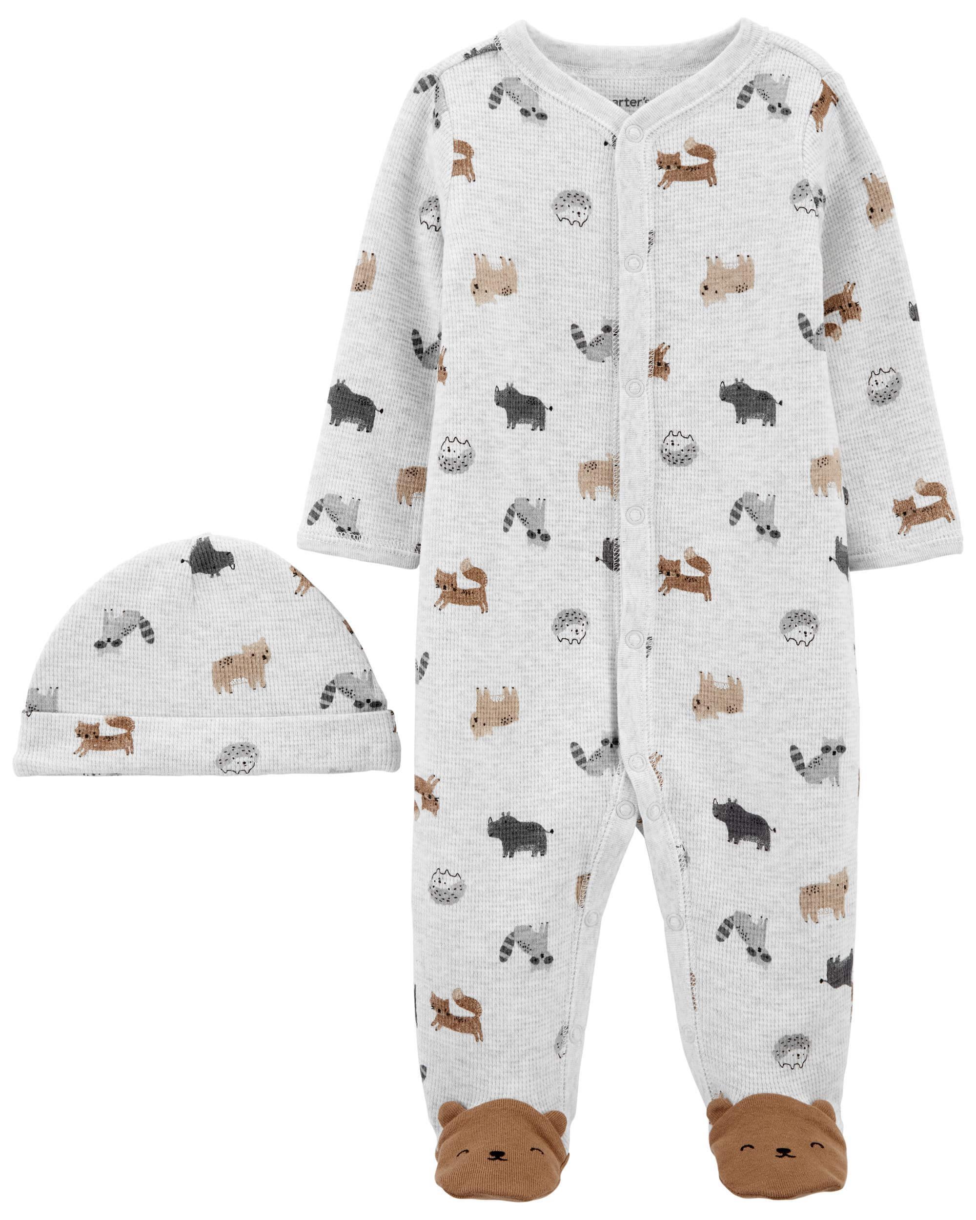 Carter's Set 2 piese Ursulet pijama si caciulita imagine