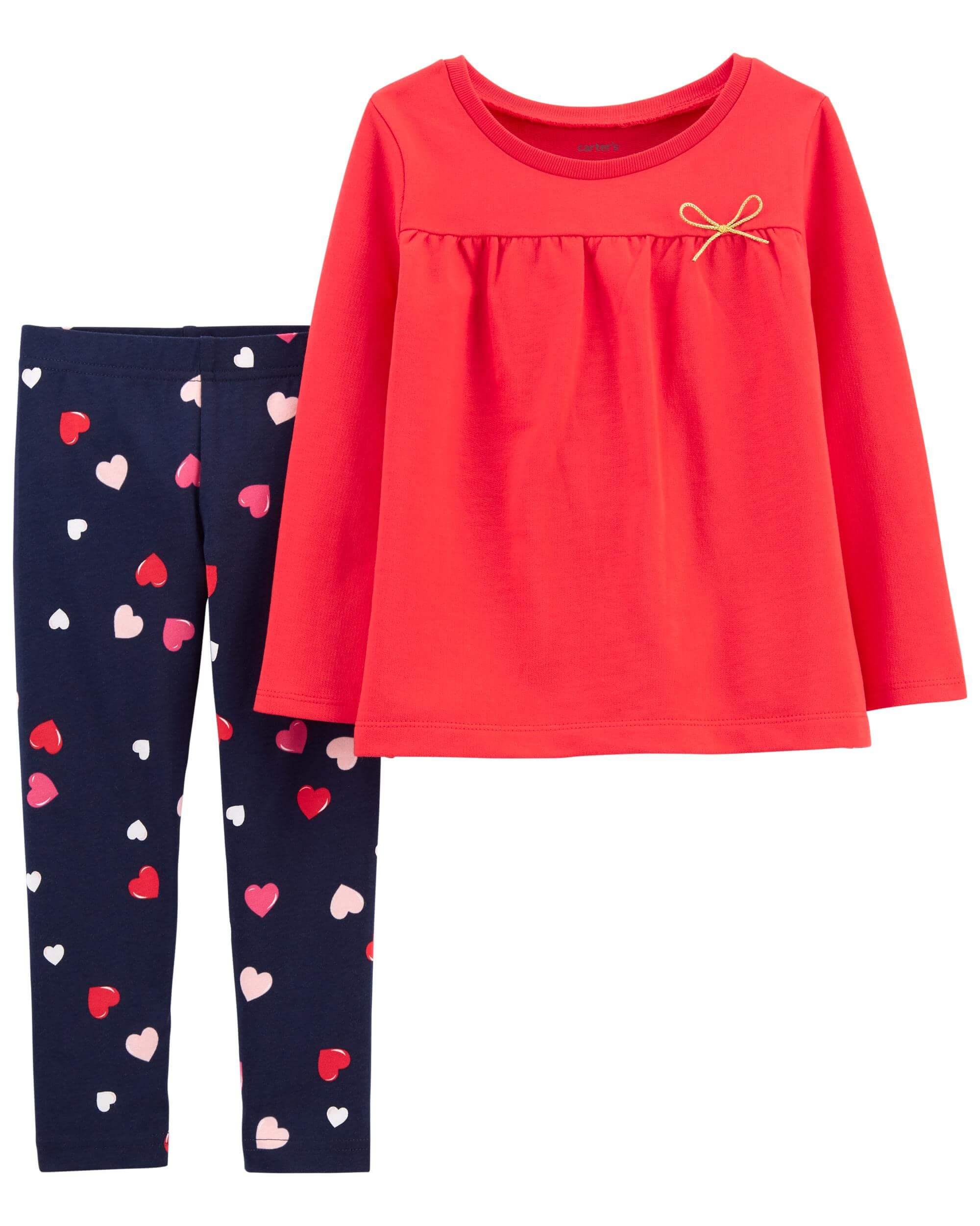 Carter's Set 2 Piese bluza si pantaloni Inimioare imagine