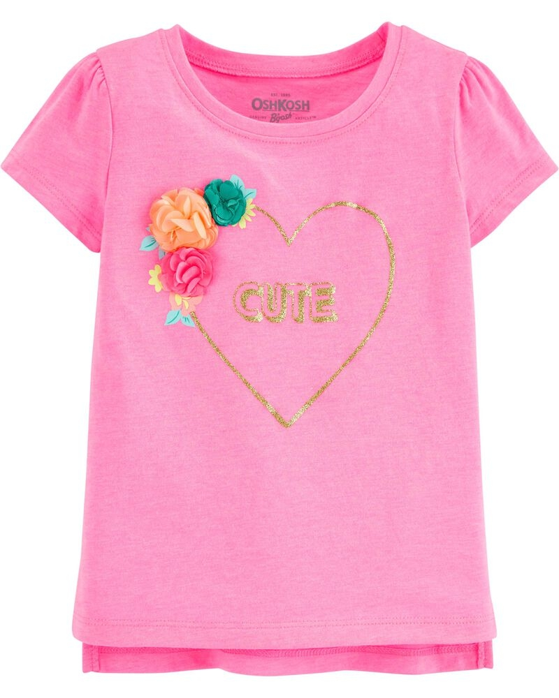 Oshkosh Tricou roz cu inimioara si flori aplicate imagine