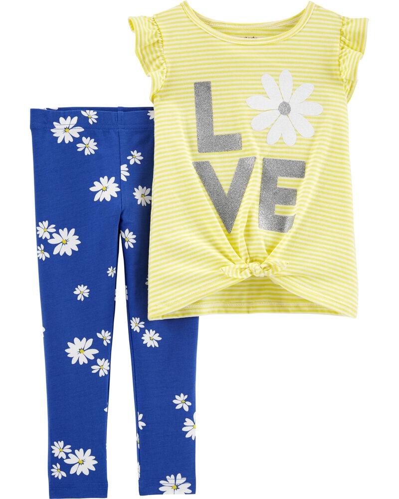 Carter's Set 2 Piese cu flori tricou si pantaloni imagine
