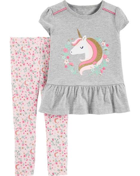 Carter's Set 2 Piese tricou & pantaloni Unicorn imagine