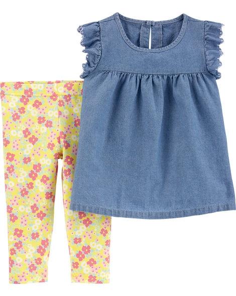 Carter's Set 2 Piese Floral pantaloni & tricou imagine