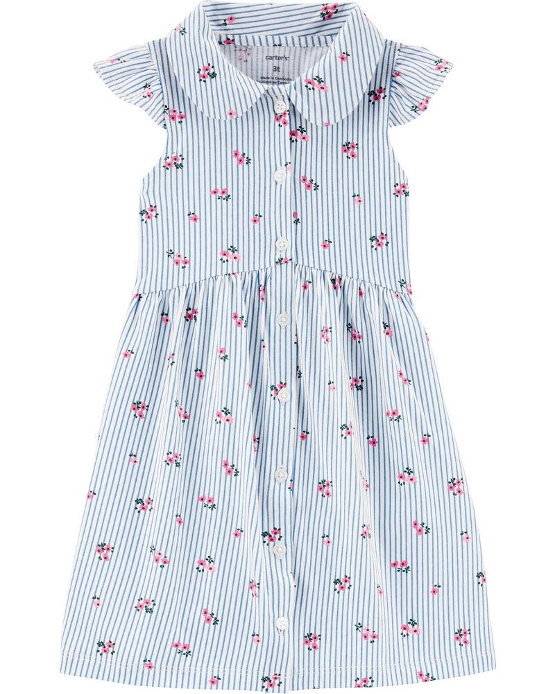 Carter's Rochiță alb/albastra cu floricele imagine