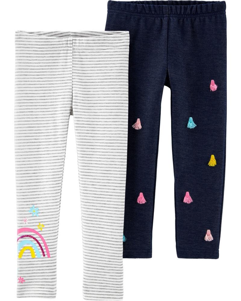 Carter's Set 2 pantaloni Curcubeu si denim imagine