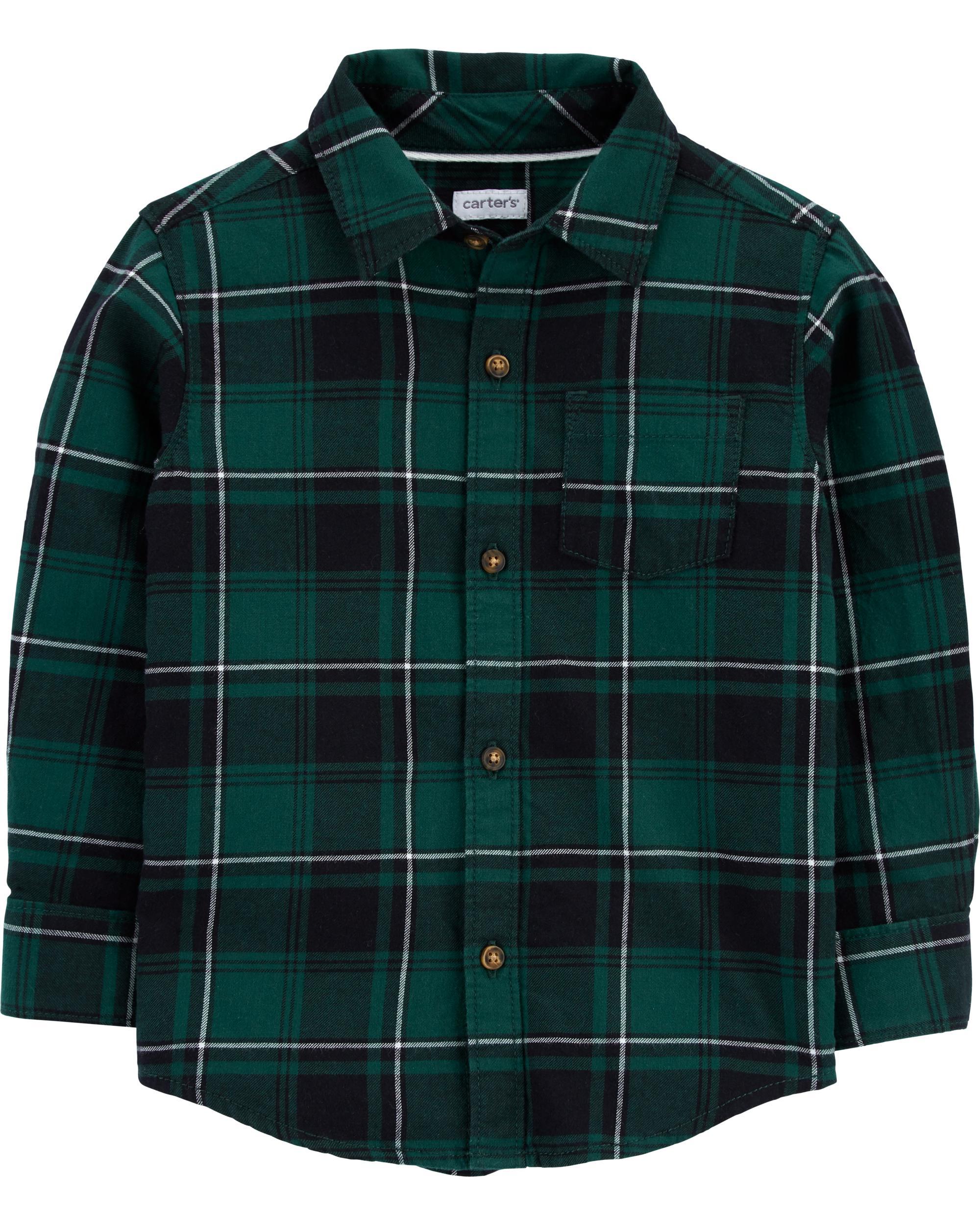 Carter's Camasa cadrilata verde imagine