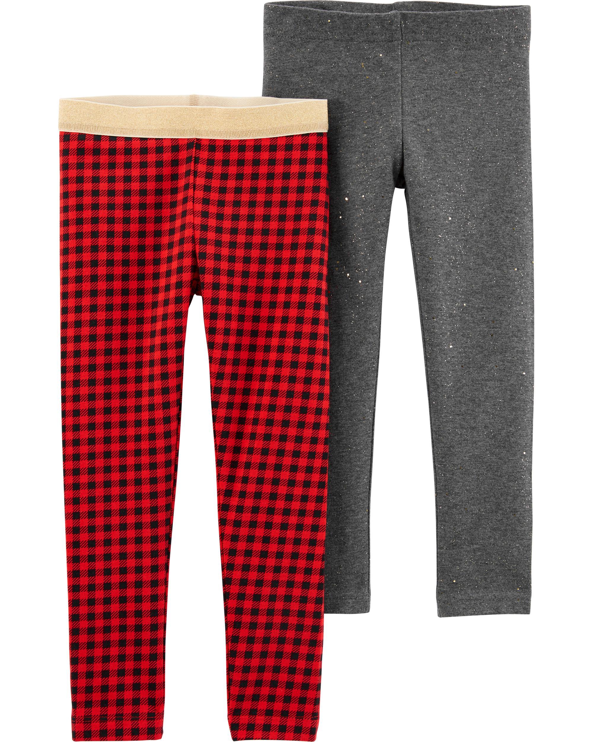Carter's Set 2 pantaloni cu carouri si cu sclipici imagine