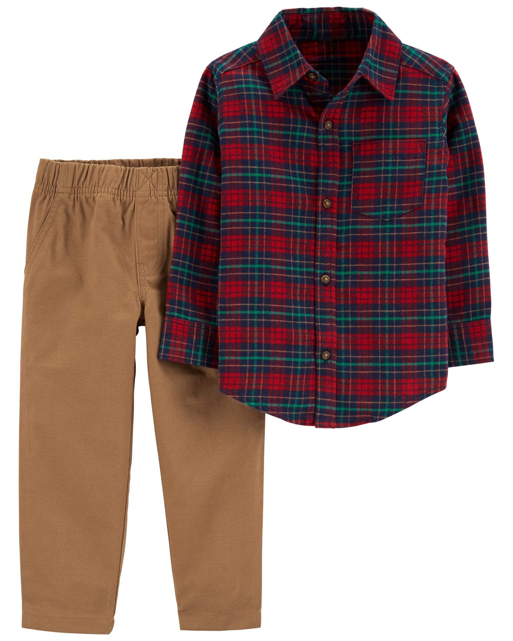Carter's Set 2 piese camasa cadrilata si pantaloni imagine