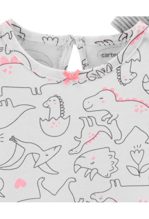 Carter's Set 3 Piese Dinozaur body, tricou & pantaloni bumbac 100%