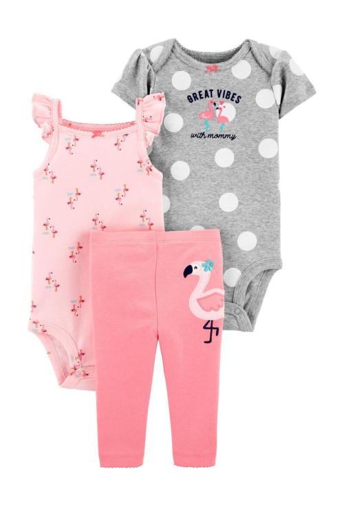 Carter's Set 3 Piese 2 body-uri & pantaloni Flamingo