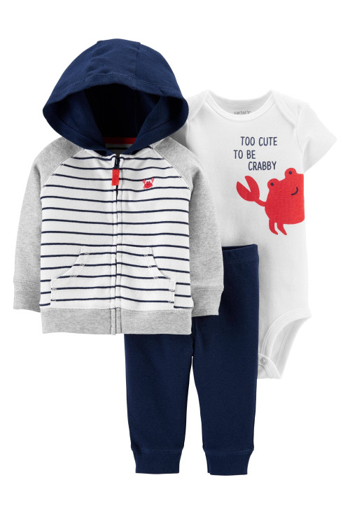 Carter's Set 3 piese hanorac, pantaloni si body Crab