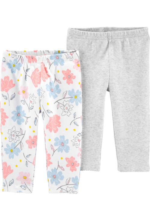Carter's Set 2 piese pantaloni flori/gri 100% Bumbac Organic
