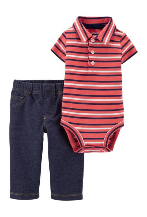 Carter's Set 2 Piese Polo body & pantaloni