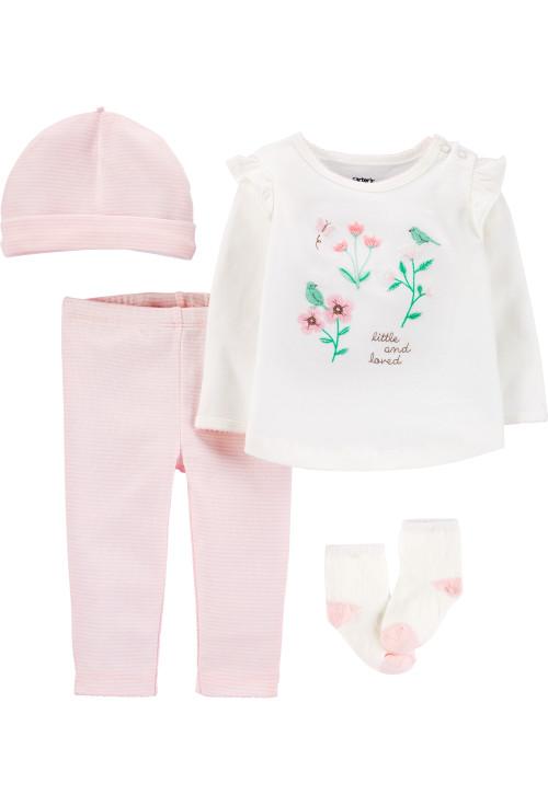 Carter's Set 4 piese bebelus pantaloni, bluza, căciulă și sosete