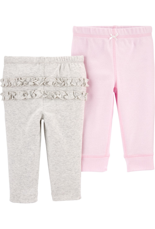 Carter's Set 2 Piese pantaloni lungi cu volanase gri/roz