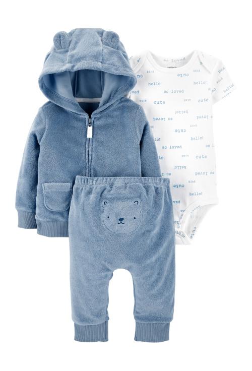 Carter's Set 3 piese bebe hanorac pantaloni si body Ursulet