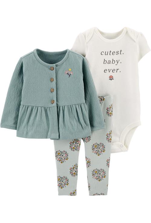 Carter's Set 3 piese bebe cardigan pantaloni si body Flori