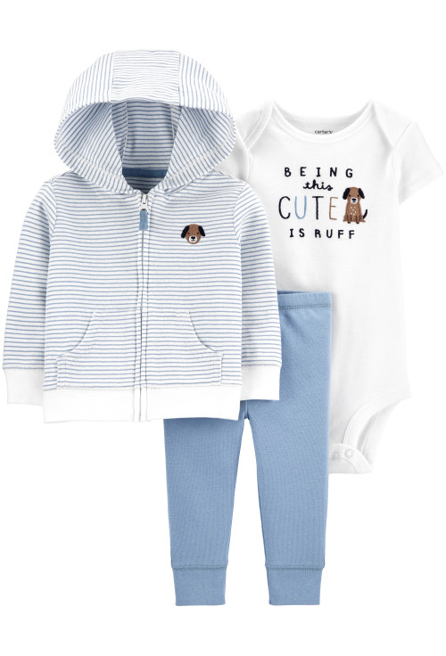 Carter's Set 3 piese bebelus hanorac, pantaloni si body Catel