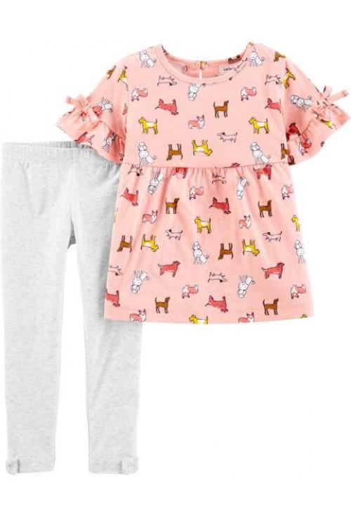 Carter's Set 2 Piese bebe tricou si pantaloni Catei