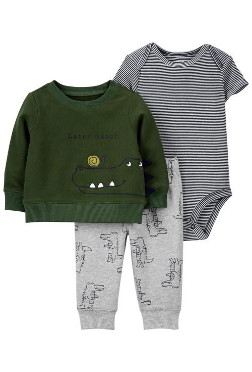 Carter's Set 3 piese pantaloni, body si bluza Aligator