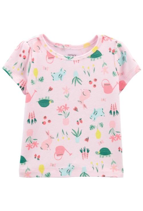Carter's Set 2 piese tricou roz si salopeta