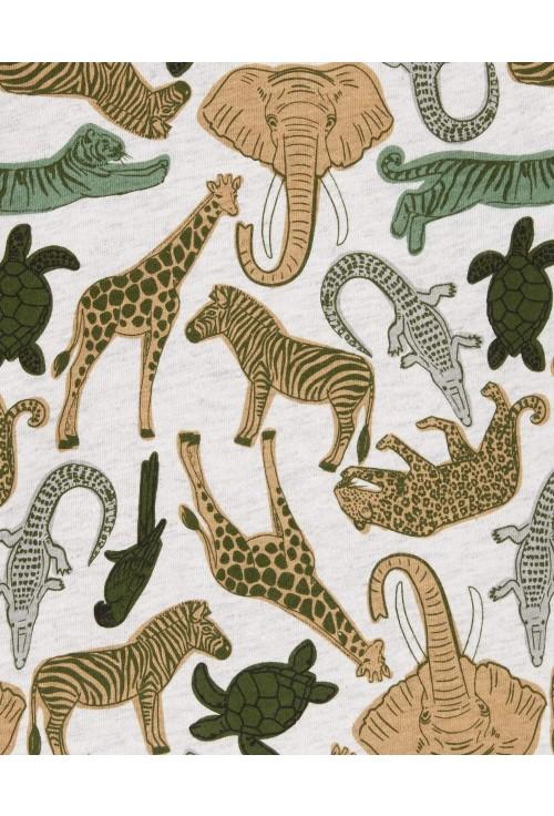Carter's Set 2 piese tricou cu animale si salopeta