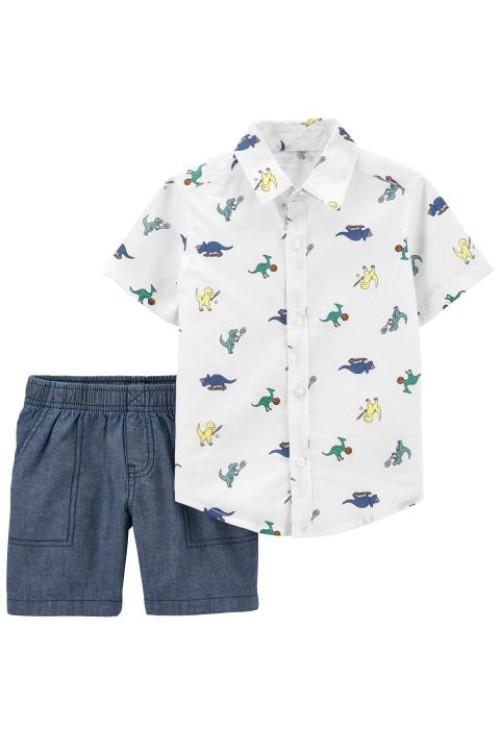 Carter's Set 2 piese camasa si pantaloni scurti Dinozauri