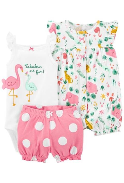 Carter's Set 3 piese pantaloni body si salopeta Flamingo