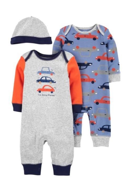 Carter's Set 3 piese 2 pijamale bebelus si caciulita Masini