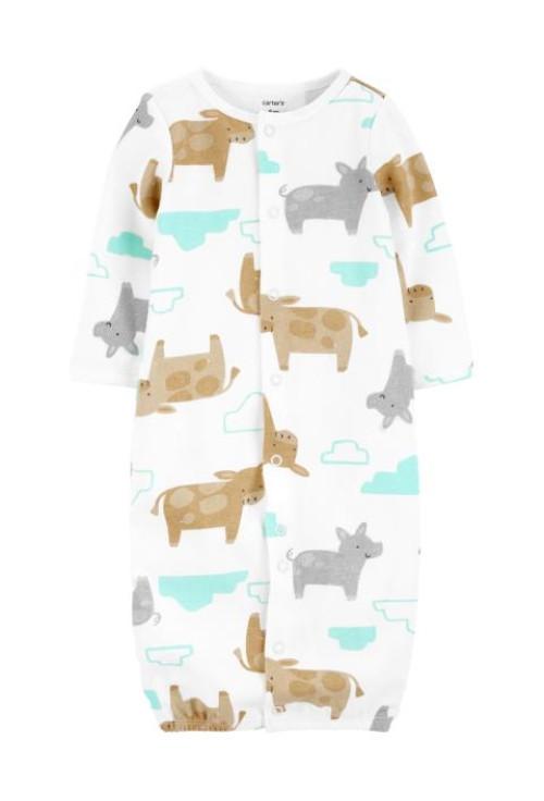 Carter's Set 3 piese pijama convertibila caciulita si sosete Animale