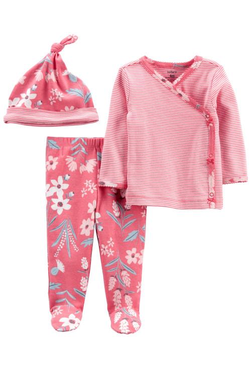 Carter's Set 3 piese bebe pantaloni top si caciulita Flori