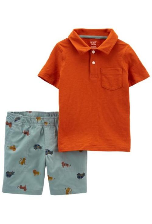 Carter's Set 2 piese tricou si pantaloni scurti Masini
